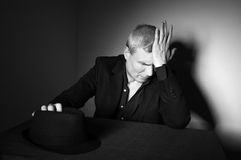 Man with black hat Royalty Free Stock Images