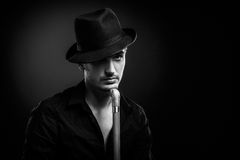 Man in a black hat Royalty Free Stock Photography