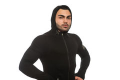 Man In Black Hooded Isolated On White Background Stock Photo
