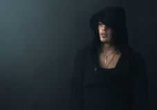 Man in  black hoodie upset Royalty Free Stock Images