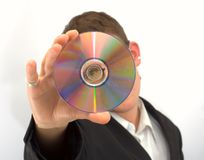 Man in the black jacket. With cd Stock Photos