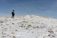Man in a black jacket climbing a mountain with a plastic sled. In winter, Russia, Bugotak Hills Stock Images