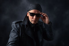 Man in black jacket Stock Photography