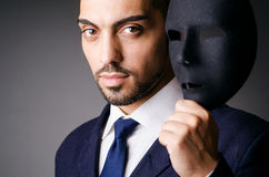Man with black mask. In studio Royalty Free Stock Photos