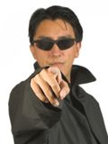 Man in black pointing at you Royalty Free Stock Photos