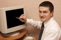 man and black screen Stock Images