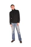 Man in black shirt standing stock photo