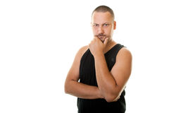 Man in a black shirt  thinking Royalty Free Stock Photography