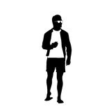 Man Black Silhouette Use Cell Smart Phone Standing Full Length Over White Background Royalty Free Stock Photo