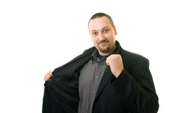 Man in black suit. White background Royalty Free Stock Image