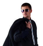 Man in a black suit Stock Image