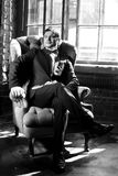 Man in black suit Stock Images