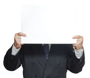 A man with a blank paper horisontal isolated Stock Images