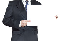 A man with a blank paper horisontal Royalty Free Stock Image