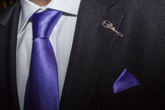 Groom's Wedding Suit With Purple Tie Stock Photo - Image: 64822681