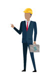 Man in Black Suit and Yellow Helmet. Bag of Money stock illustration