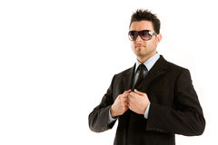 Man in black with sunglasses Royalty Free Stock Photos