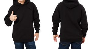 Man in black sweatshirt template isolated. Male black sweatshirts set with mockup and copy space. Hoody design. Hoodie front and