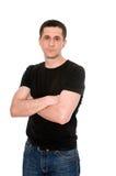 Man in black T- shirt Stock Photo