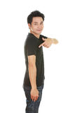 Man with black t-shirt Royalty Free Stock Images