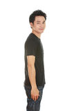 Man with black t-shirt (side view) Royalty Free Stock Photos