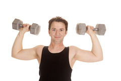 Man black tank top weights flex Royalty Free Stock Photo