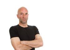 Man in black teeshirt posing Royalty Free Stock Image