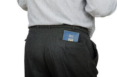 Man in black trousers has Israeli passport in back pocket Stock Photography