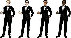 Man in black tuxedo and bow tie Royalty Free Stock Images