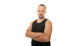 Man in a black undershirt Stock Photography