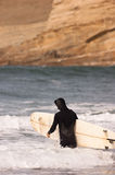 Man Black Wetsuit Enters Ocean Surf Holding Surfboard Summer Sport Stock Photo