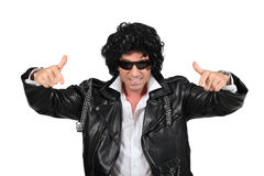 Man in a black wig Stock Image