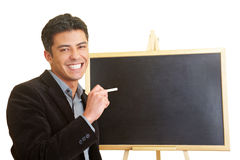 Man with blackboard Stock Photo