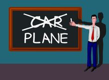 Man with blackboard with car-plane concept Stock Image