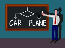 Man with blackboard with car-plane concept Royalty Free Stock Image