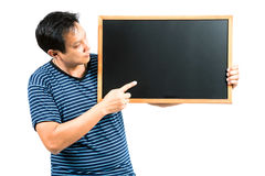Man with blackboard Stock Images