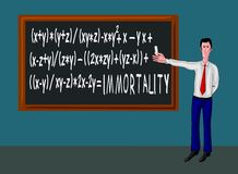 Man with blackboard and immortality formula Royalty Free Stock Photo