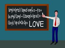 Man with blackboard and love formula Royalty Free Stock Photography