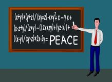 Man with blackboard and peace formula Royalty Free Stock Images