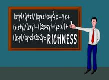 Man with blackboard and richness formula Stock Photography