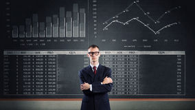 Man at blackboard Stock Images