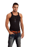 Man in BlackShirt and Jeans Stock Photography