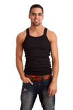 Man in BlackShirt and Jeans Royalty Free Stock Image