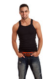 Man in BlackShirt and Jeans Stock Image