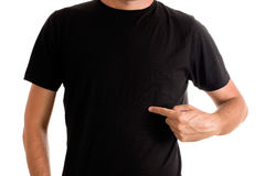Man in blank black t-shirt. Slim tall man posing in blank black t-shirt Stock Photos