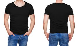 Man in blank black tshirt front and rear isolated on white stock images