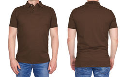Man in blank brown polo shirt from front and rear Royalty Free Stock Photos