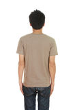 Man with blank brown t-shirt (back side) Royalty Free Stock Photography