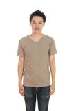 Man with blank brown t-shirt Stock Image