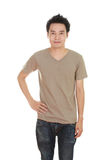 Man with blank brown t-shirt Royalty Free Stock Photos